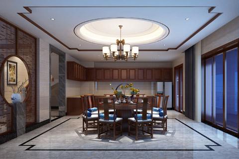 别墅装修效果图,东方传统文化内涵为设计理念现东方之美