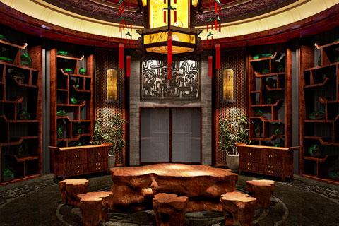 赏析奢华厚重的四川珠宝展厅汉唐古典中式装修风格案例