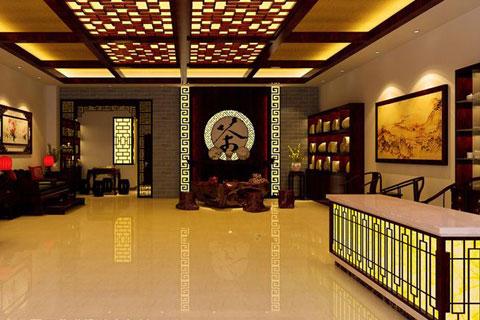 茶艺展厅设计效果图,蕴含浓郁的古典文化内涵