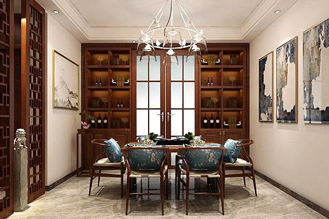 别墅新中式装修效果图,偏向现代感,结合中式的一种手法