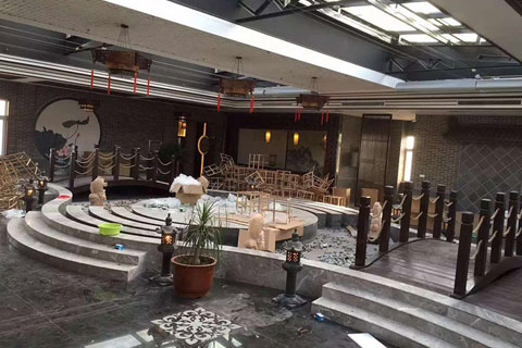 河北沧州华祥苑茶楼装修施工现场
