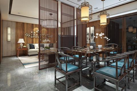 中式禅意别墅装修设计效果图,远离喧哗静悟天地与人生