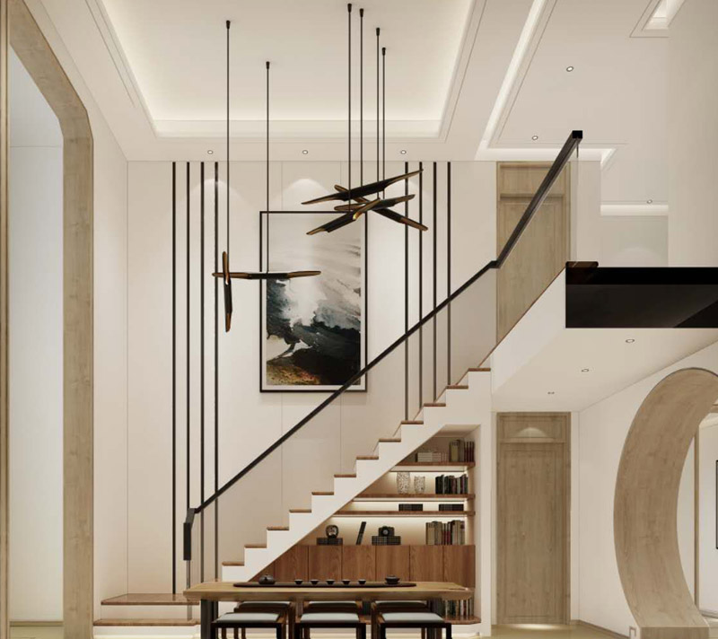 > 新中式別墅豪宅裝修效果圖,傳統結合現代潮流的新演繹