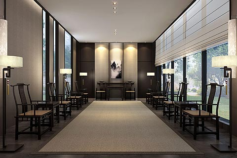 展厅中式装修效果图-品味东方青花瓷绽放光彩