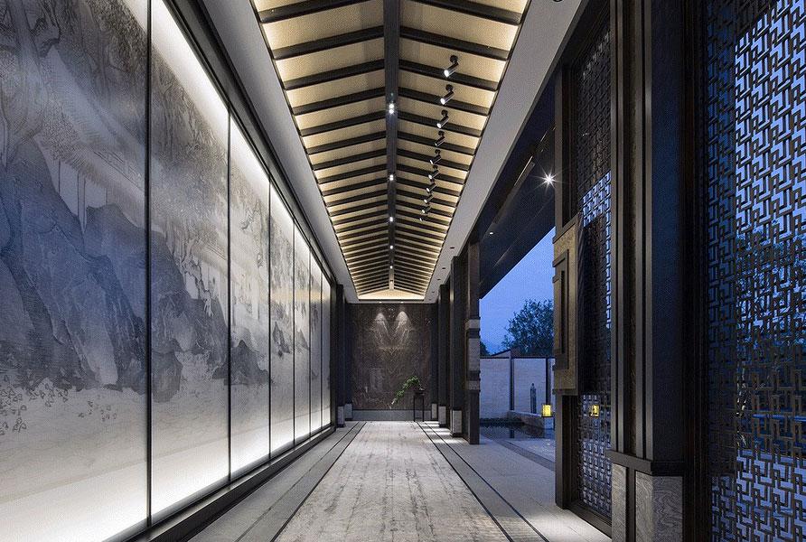 > 展廳中式裝修效果圖-品味東方青花瓷綻放光彩