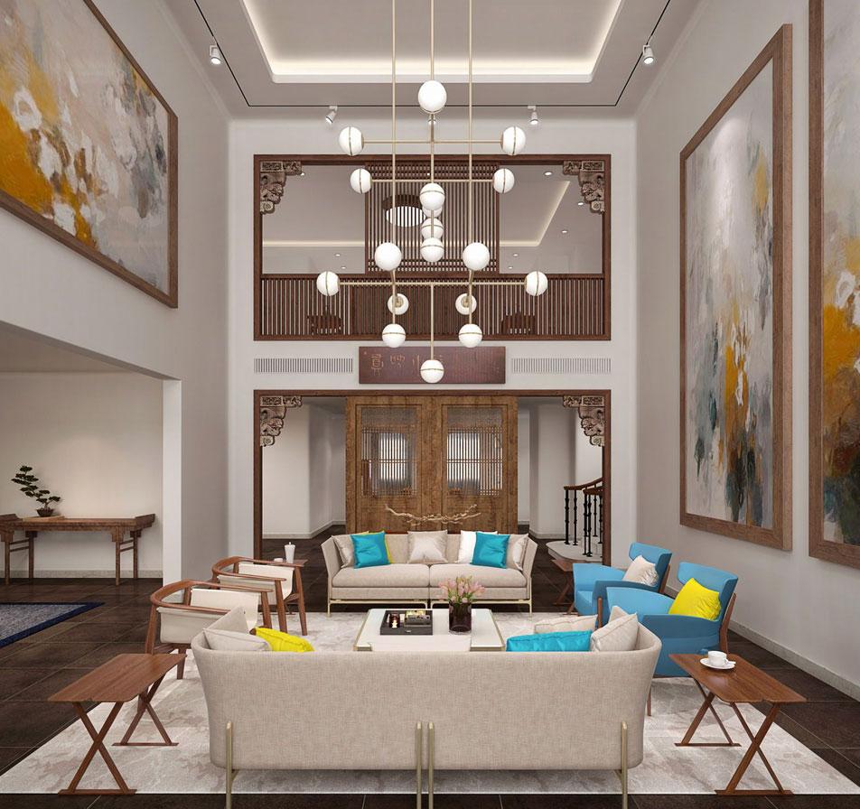 > 别墅公寓中式装修效果图,新中式的简练实现居家的感觉