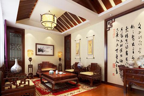 一墙落花拂尘心 中式居室背景墙自然清远的意境之美
