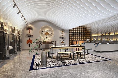 展厅中式装修效果图 传统元素在此空间升华出艺术感
