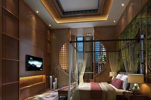 以客人体验为主的酒店中式装修效果图,又提炼出传统文化