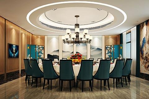 酒店中式装修效果图,中式餐饮区装修效果图