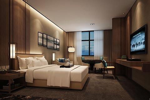 酒店中式装修效果图,客房和茶餐厅区装修效果图赏析