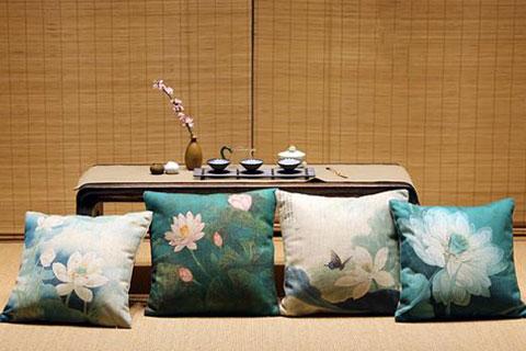 新中式空间抱枕软装  舒适、闲逸、灵秀、静雅的意蕴表达