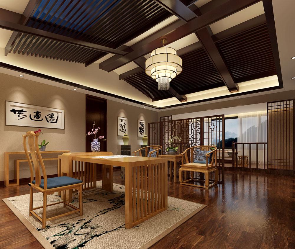 > 紫砂壶私人会所装修效果图 中式传统艺术文化中提取元素