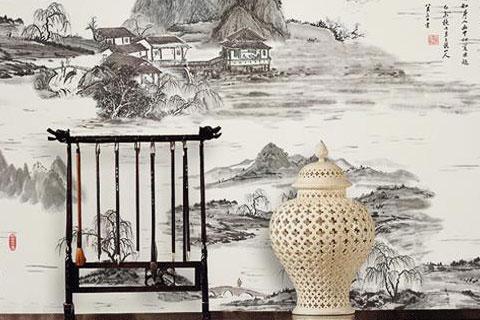 水墨渲染的中式背景墙装饰  墨染一室古典诗韵