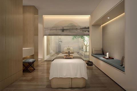SPA美容会所中式装修效果图 大理石纯木作线条工艺健康用品