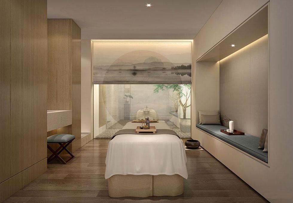 > spa美容会所中式装修效果图 大理石纯木作线条工艺健康用品