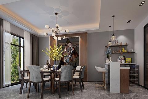 新中式别墅装修效果图 巧妙地颜色搭配和配饰营造舒适环境