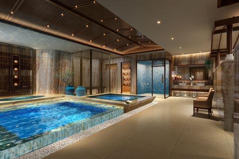 洗浴会所中式装修效果图赏析 以人文健康休闲放松为设计
