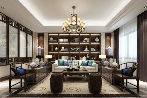 新中式别墅装修效果图赏析 复古的家居形态却又有现代感