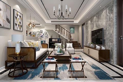 新中式别墅装修效果图欣赏 现代的舒适搭配中式文化的设计