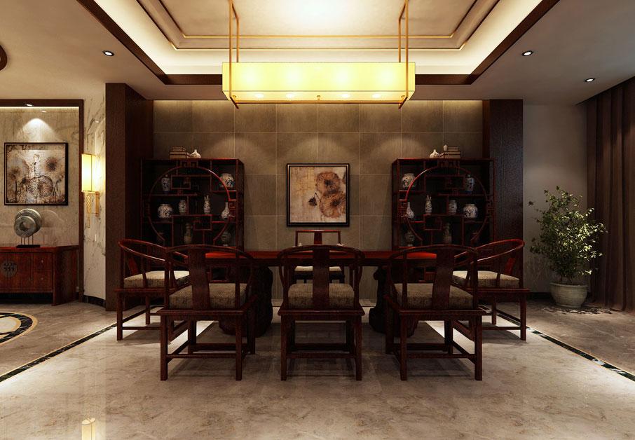 > 新中式别墅装修效果图欣赏 红木家具承托中式设计古典文化