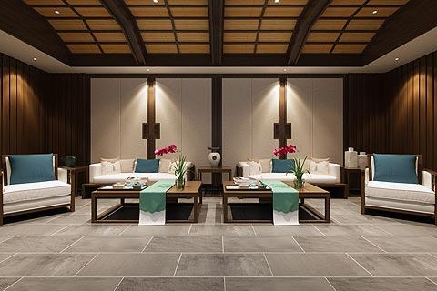 餐饮区中式装修效果图 中式设计餐饮空间装修图片