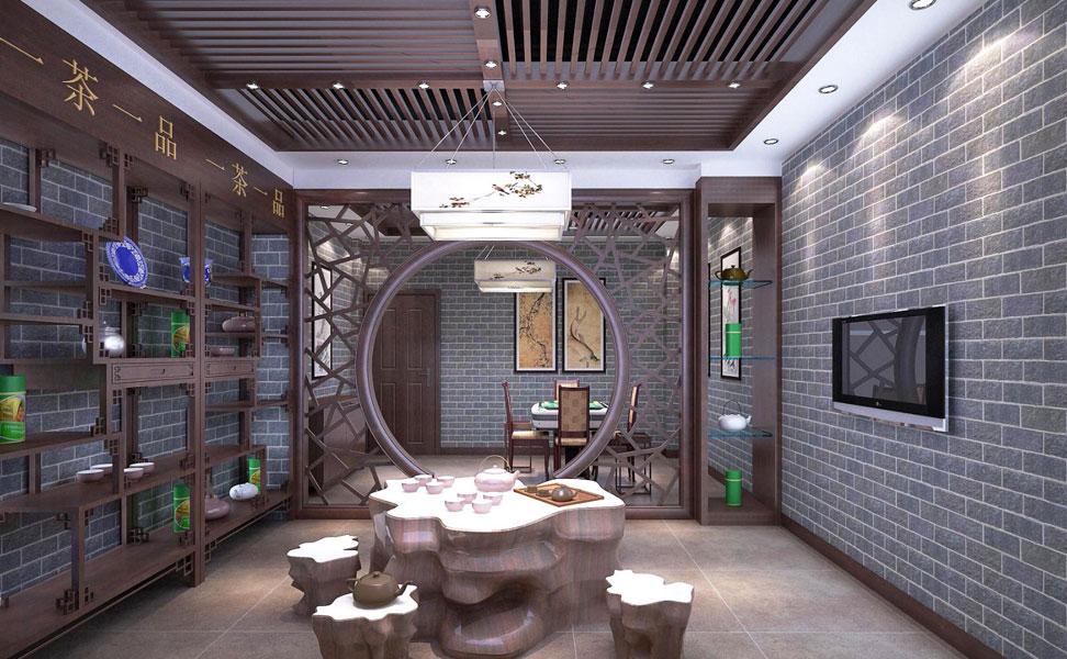 > 中式茶楼装修效果图 中式设计古色韵味造就一品茶香四溢