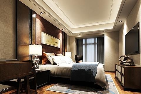 复式楼中式装修效果图 中式设计暗色调打造静心居住环境