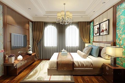 别墅中式装修效果图 中式设计颜色混搭让家居更加清晰