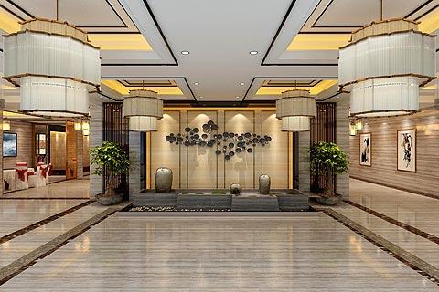 餐饮空间中式装修效果图 中式设计利用花格宫灯造餐饮环境