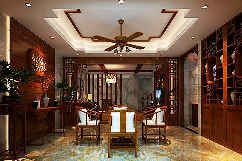 别墅中式装修效果图 中式设计古典味十足却又透着新气息