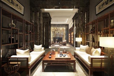 别墅中式装修效果图 中式设计古典风格之下的成熟家居风