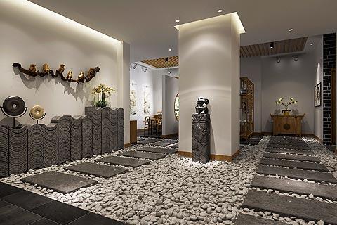 瑜伽会所中式装修效果图 新中式设计瑜伽会所装修图片赏析
