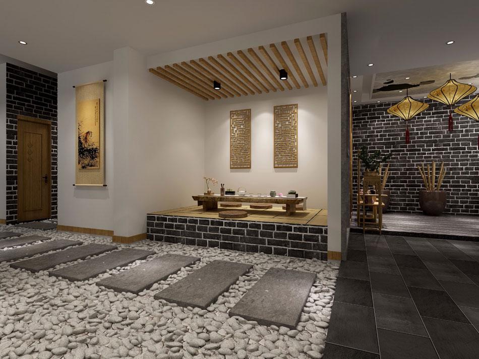 > 瑜伽會所中式裝修效果圖 新中式設計瑜伽會所裝修圖片賞析