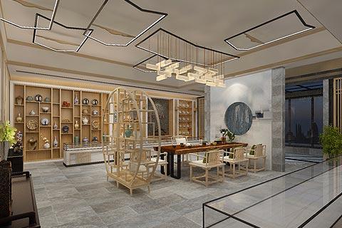 禅意茶楼中式装修效果图 中式设计点缀禅茶一味的韵镜