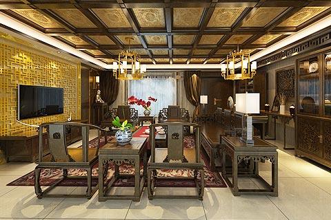别墅中式装修效果图 古韵中式设计别墅装修效果图赏析