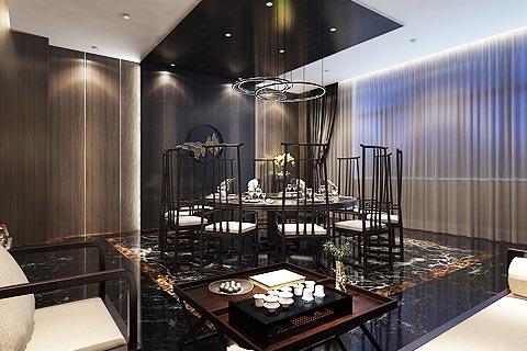 禅意餐饮酒店中式装修效果图 中式设计餐饮空间装修效果图
