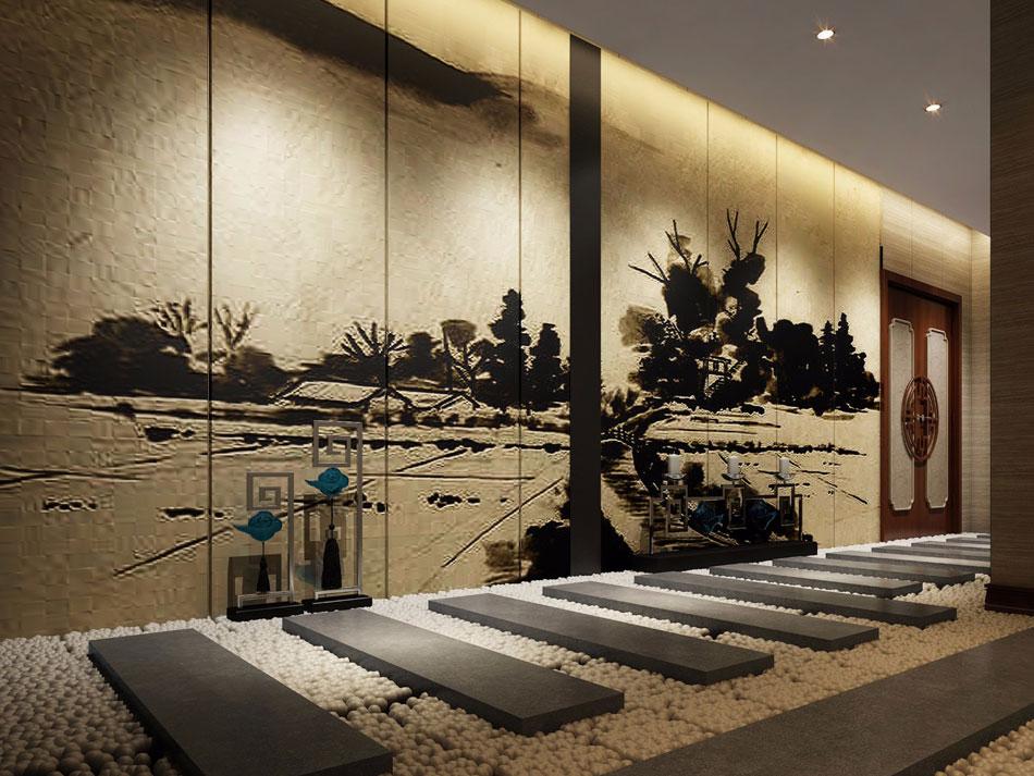 本套图片来源于设计圈 是一套新中式足浴会所装修效果图
