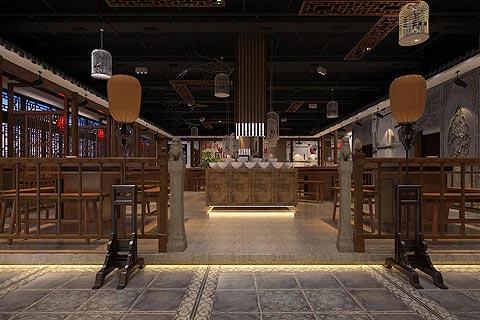 餐饮酒店中式装修效果图 火锅店中式设计效果图