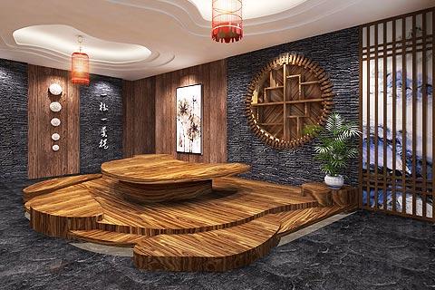 瑜伽会馆中式装修效果图 古韵中式设计瑜伽会所中式装修图