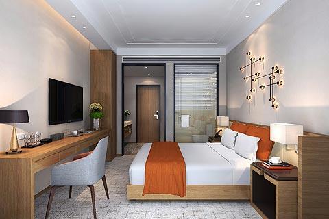 中式设计度假酒店装修效果图 酒店装修效果图赏析
