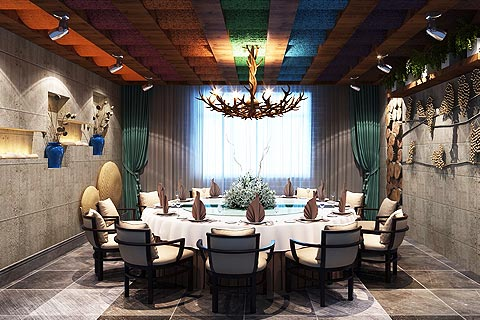 餐饮区中式装修效果图 餐饮酒楼中式装修效果图欣赏