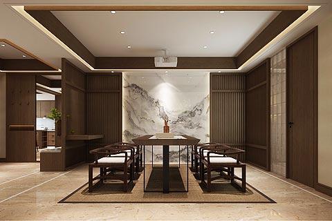 本套图片来源于设计圈 是一套新中式别墅装修效果图