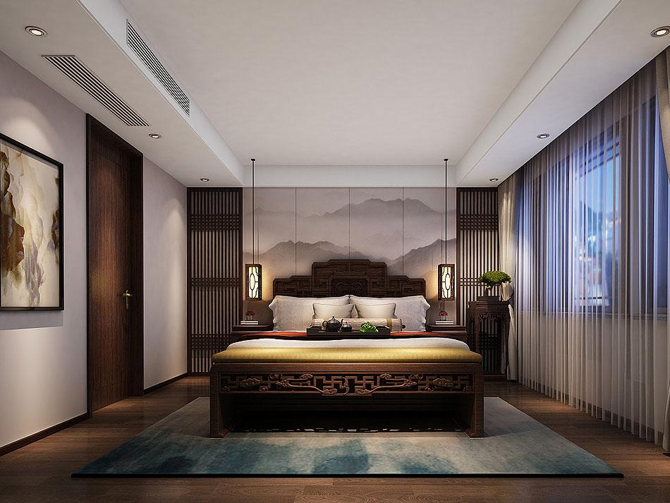 中式别墅装修效果图 新中式禅意风格设计别墅装修图