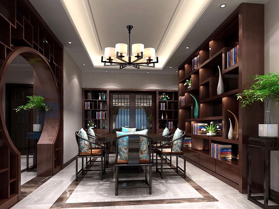 本套图片来源于设计圈 是一套别墅新中式装修效果图