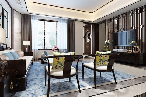 新中式风格别墅室内空间设计效果图