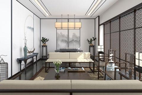 黑白相间水墨元素新中式风格会客厅设计效果图