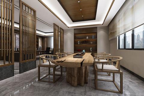 新中式风格办公区域设计效果图 至禅至简