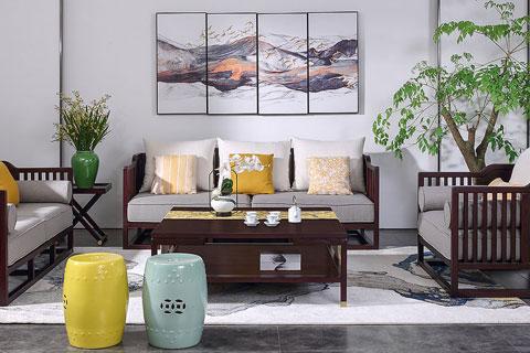 别墅中式装修空间新中式家具组合摆放效果图