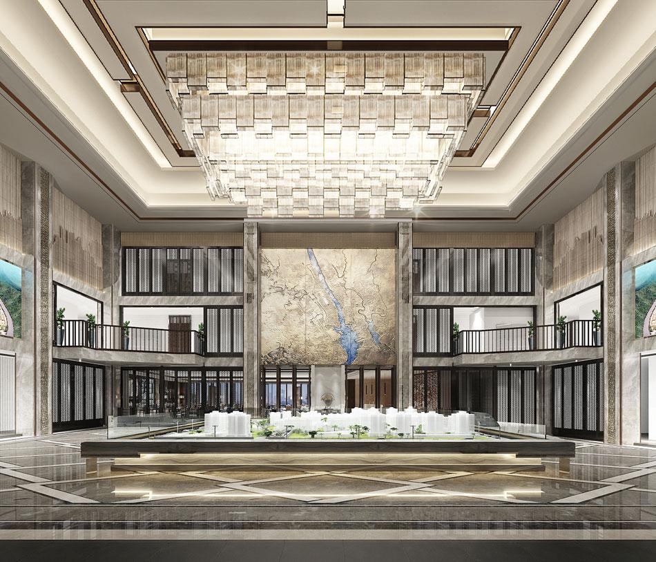 本套图片来源于站酷 是一套售楼处新中式装修效果图